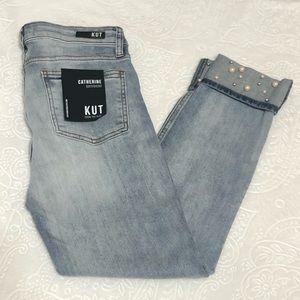 KUT Catherine Boyfriend Wide Cuff Distressed Jeans